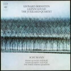Piano Quintet in E-flat / Piano Quartet in E-flat by Schumann ;   Leonard Bernstein ,   Glenn Gould ,   Juilliard String Quartet